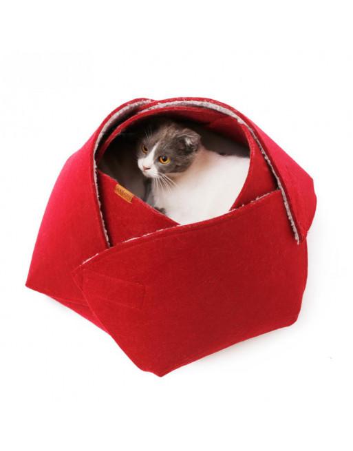 Opvouwbaar indoor katten-bed / grot - ROOD