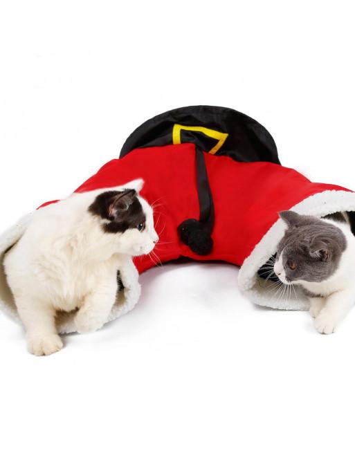 Speeltunnel met ritselend materiaal voor katten thema kerst - ROOD