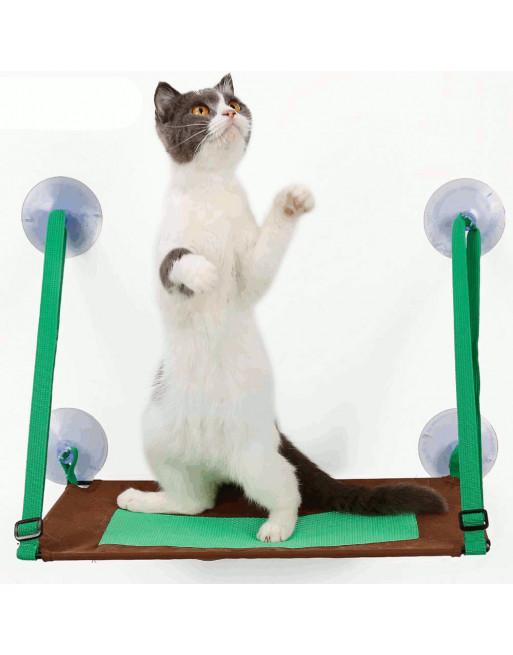 Katten bedje hangmat voor venstermontage - leuk poezenbed - ZOMER - GROEN