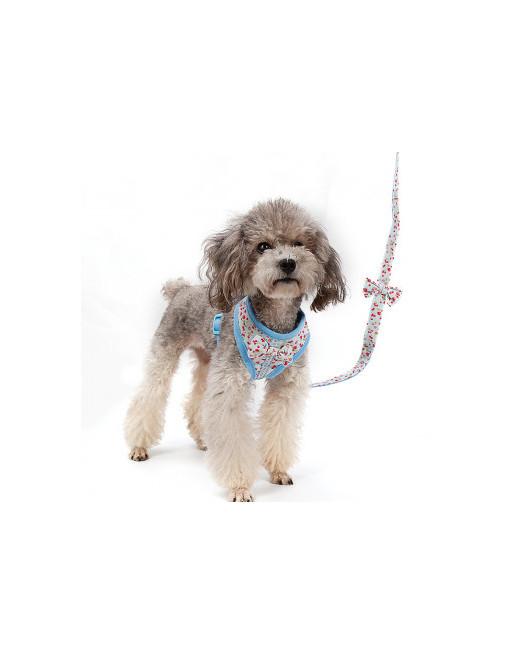 Flower power harnas  jasje voor honden of katten incl. leiband - EXTRA SMALL - BLAUW