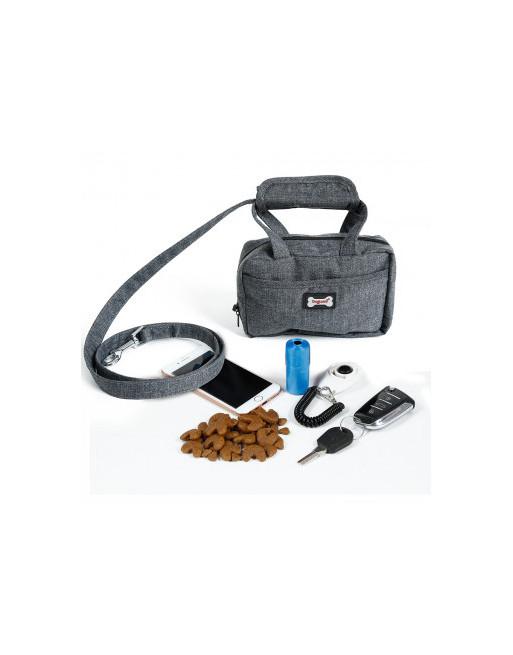Leuk handtasje om de wandelen met de hond - poepzakjes tas met leiband -  GRIJS