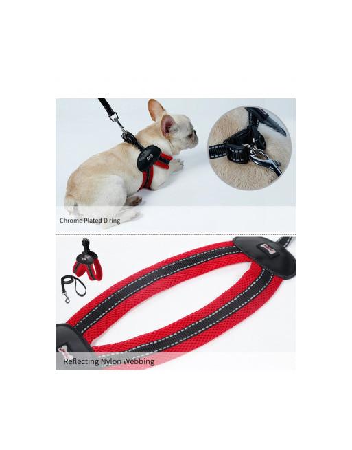 Super eenvoudige harnas voor honden - hondenharnas - EXTRA SMALL - ROOD