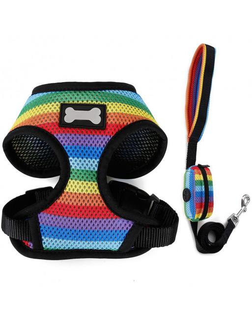 Harnas voor hondjes in Regenboog kleuren incl. leiband met poepzakjes houder - SMALL