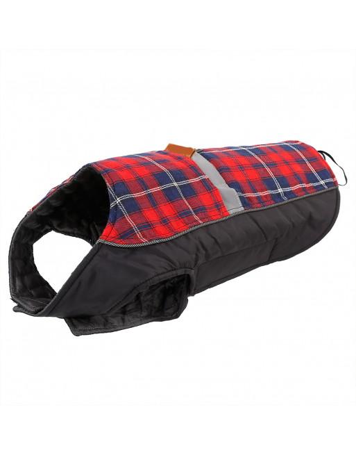 Warm jasje schotse ruit met reflecterende band voor honden - EXTRA SMALL