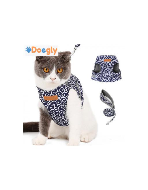 Superleuk harnas speciaal voor katten - katten harnas - Incl. leiband - EXTRA SMALL - BLAUW