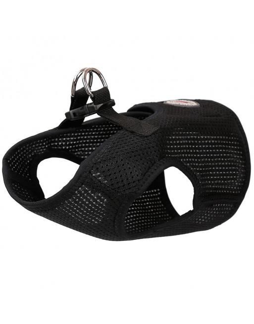 Comfortabel zittende honden harnas in admende gaas stof - EXTRA SMALL - ZWART