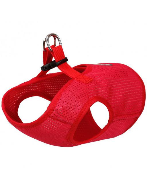 Comfortabel zittende honden harnas in ademende gaas stof - EXTRA SMALL - ROOD
