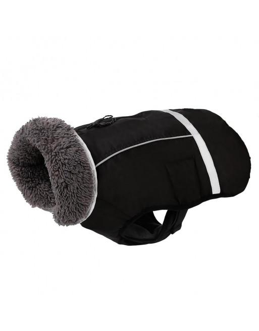 Super warm sportief winterjasje voor de hond - fashion design - SMALL - ZWART
