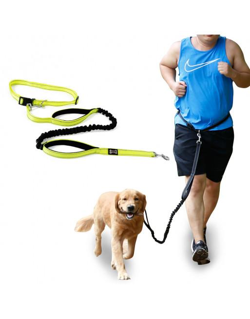 Honden leiband voor fietsers ofsporters - looplijn met heupriem - GEEL