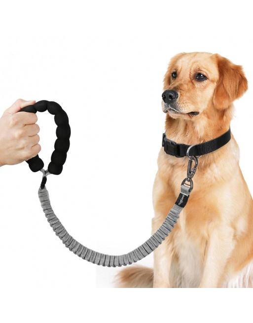 Elastische Rekbare hondenriem - Trainingslijn - reflecterend - GRIJS