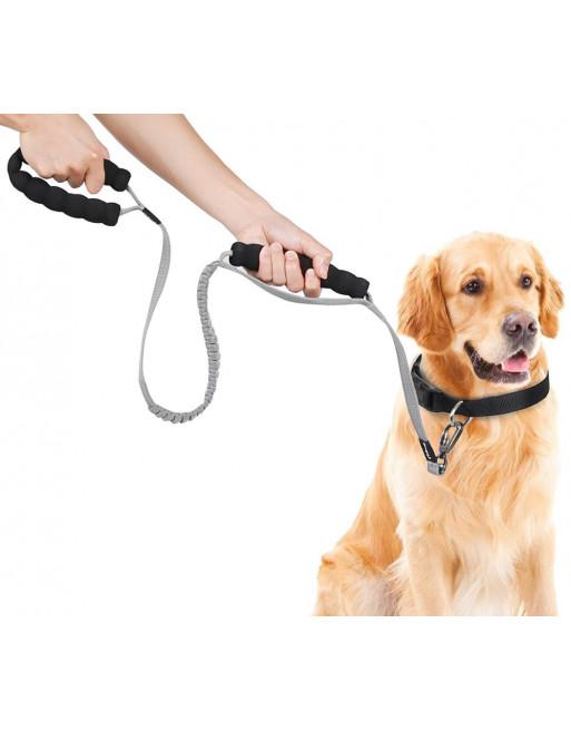 Elastische Rekbare hondenriem leiband met 2 handgrepen - Trainingslijn - reflecterend - GRIJS