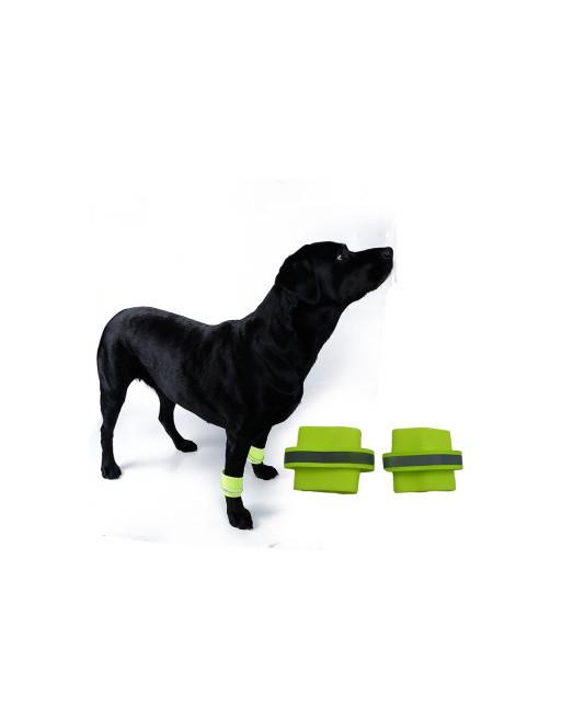 Reflecterende Elastische pootband - Veiligheid in donker voor uw hond - SMALL - GEEL