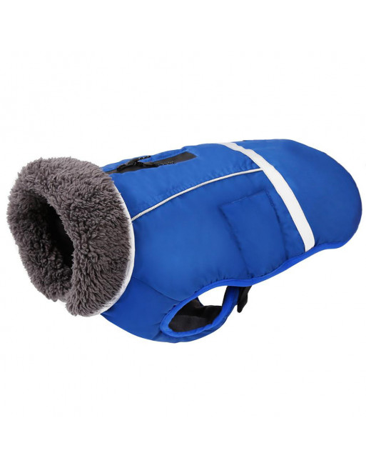 Super warm sportief winterjasje voor de hond - fashion design - SMALL - BLAUW