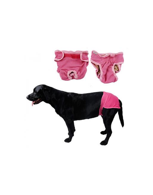 Hondenbroekje - luier voor teef - loopsheid - ongesteldheid - wasbaar - EXTRA SMALL - ROZE