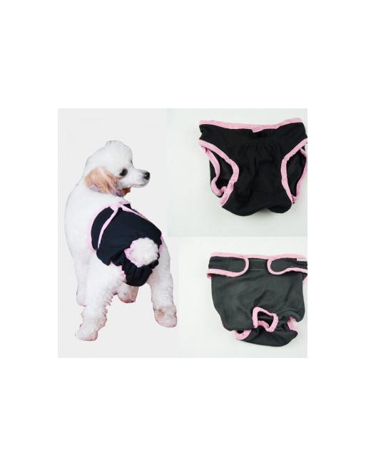 Hondenbroekje  - luier voor teef - loopsheid - ongesteldheid  - wasbaar - EXTRA SMALL - ZWART
