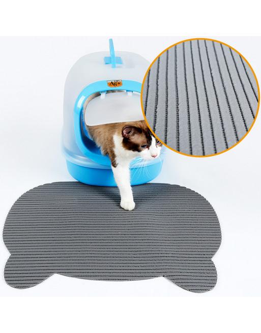 Kattenbak matje met speelse vorm - uitloopmat - GRIJS
