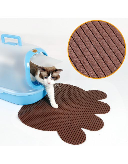 Kattenbak mat met speelse vorm - uitloopmat - BRUIN