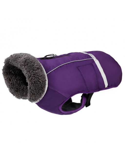 Super warm sportief winterjasje voor de hond - fashion design - SMALL - PAARS