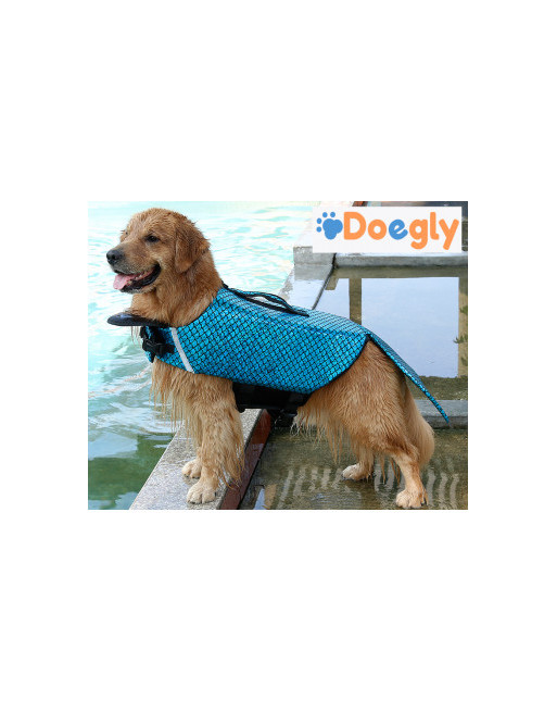 DOEGLY - Zwemvest voor honden - zwemjas - zwemondersteuning voor honden - SMALL - BLAUW