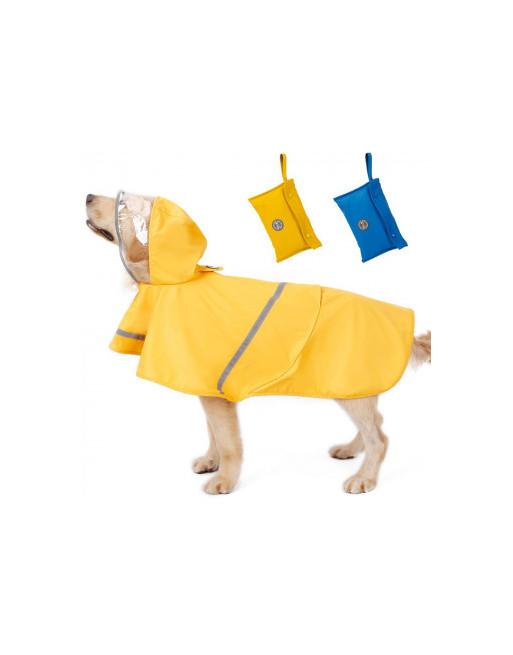 Waterproof regenjas - poncho voor honden met reflector - EXTRA SMALL - GEEL