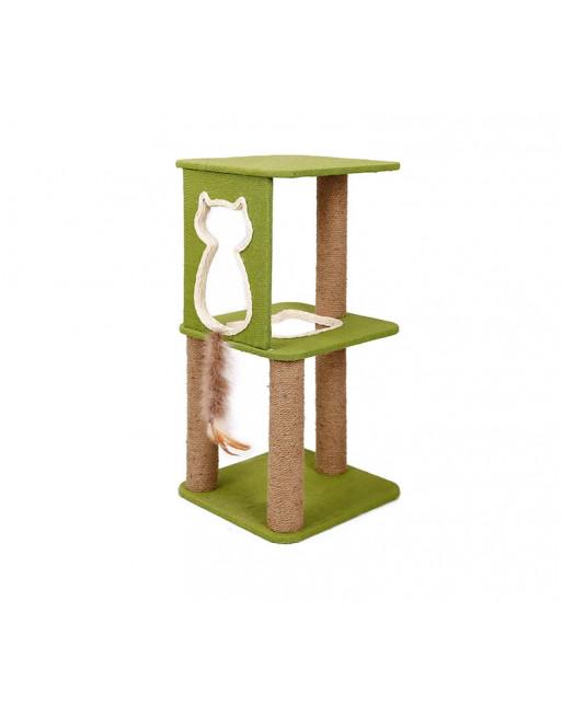 Doegly krabpaal  - klimrek - speelmeubel voor katten 38 x 38 x 80 cm - GROEN / BRUIN