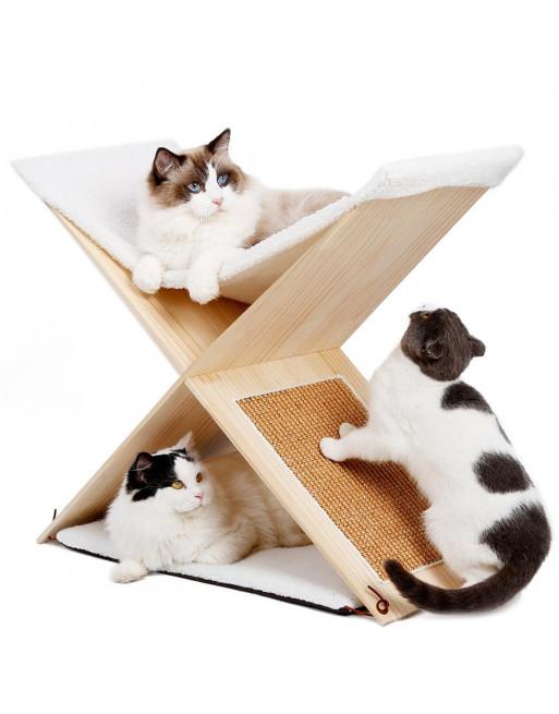 Elegante combinatie van katten hangmat en krabpaal - krabmeubel