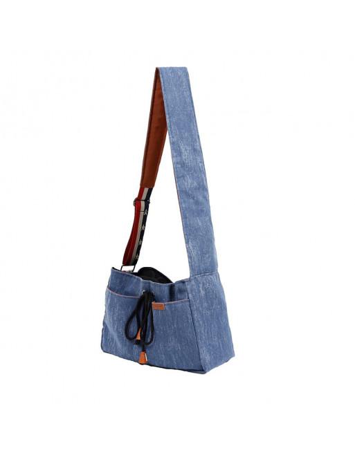 Hippe schoudertas in jeans stof om je hondje of katje mee te dragen - kattentas - hondentas - BLAUW
