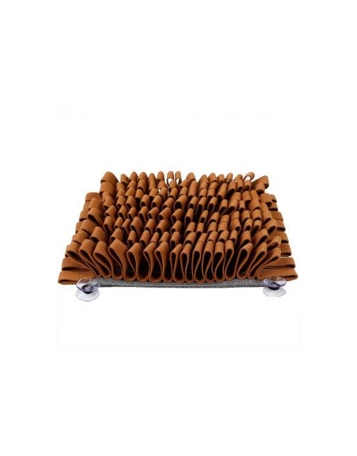 Snuffelmat voor honden - De ideale beweging voor uw hond - slow eating training - 29 x 29 cm - BRUIN