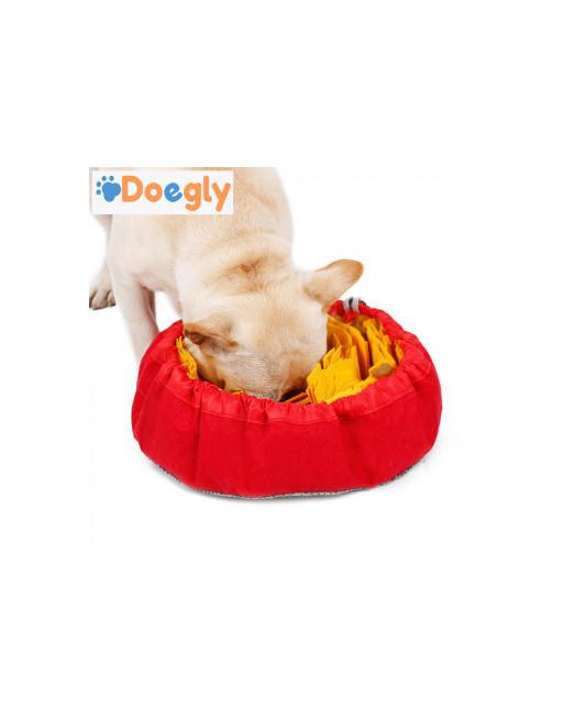 Snuffel mat omvormbaar tot snuffel bol - trainingsdeken voor honden - Slow eating training - GEEL