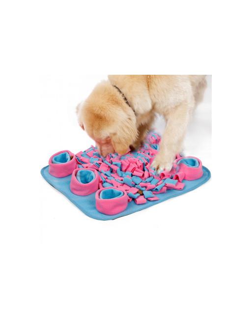 Snuffeldeken - trainingsdeken voor honden - Fleece - Slow eating training - 45 x 45 cm - BLAUW