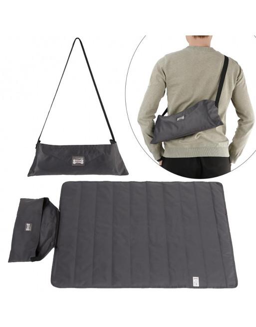 Tasje met outdoor deken ideaal voor uitstapjes - 100 x 70 cm - ZWART