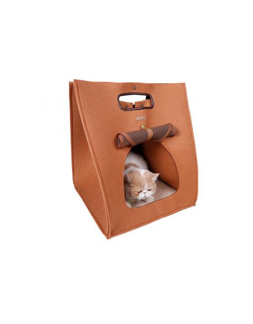 Handige 3 in 1  - katten/honden Draagtas - Mand - Kennel - 40 x 40 x 48 cm - BRUIN