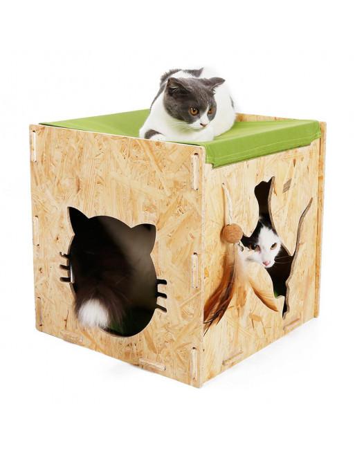 Houten poezenhuis - kattenhuis met hangmat - Cat Cave - speel- en rusthuisje