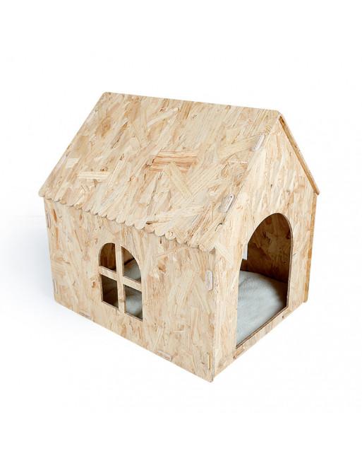 Houten hondenhuisje - kattenhuisje Ecologische fabricatie - indoor
