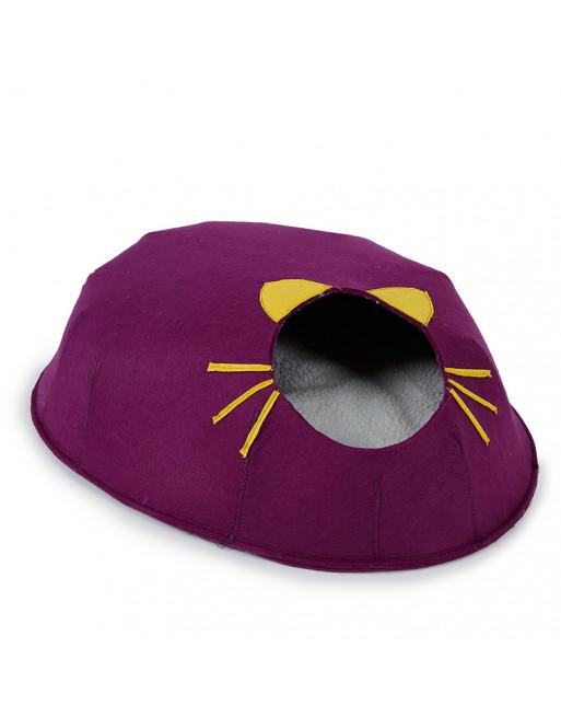 Winters gesloten katten huisje - cat cave - kattenbedje - PAARS