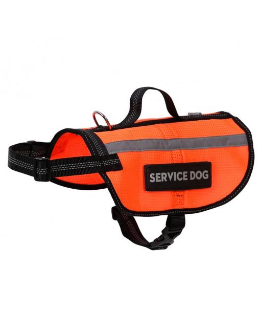 Reflecterende hondenjas - harnas met handvat - Verwijderbare tekst SERVICE DOG - SMALL - ORANJE