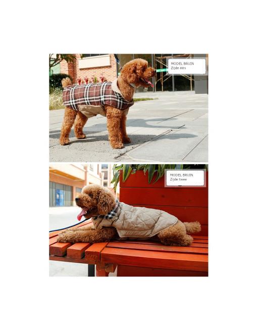 Stijlvol omkeerbaar winter hondenjasje in Engelse stijl - EXTRA SMALL - BEIGE