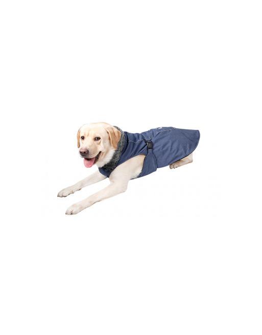 Uiterst warm en speels ogend hondenjasje met reflectiestroken en fleece binnenin - SMALL - BLAUW