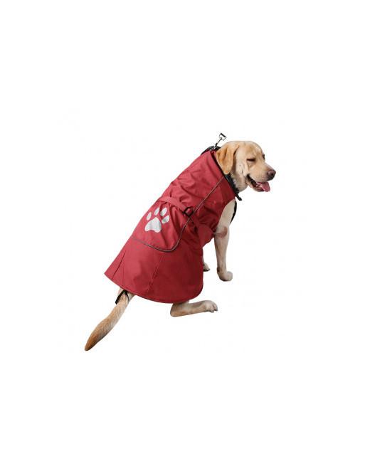 Uiterst warm en speels ogend hondenjasje met reflectiestroken en fleece binnenin - SMALL - ROOD