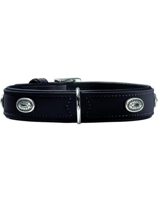 Kwaliteitsvolle leren/ fluwelen halsband - 51-58 x 65 x 3,5 cm - zwart