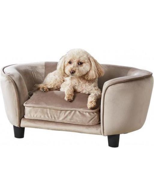 Royale hondenmand/sofa- fluweel - coco - 67,5 x 40.5 x 30.5 cm - Lichtbruin