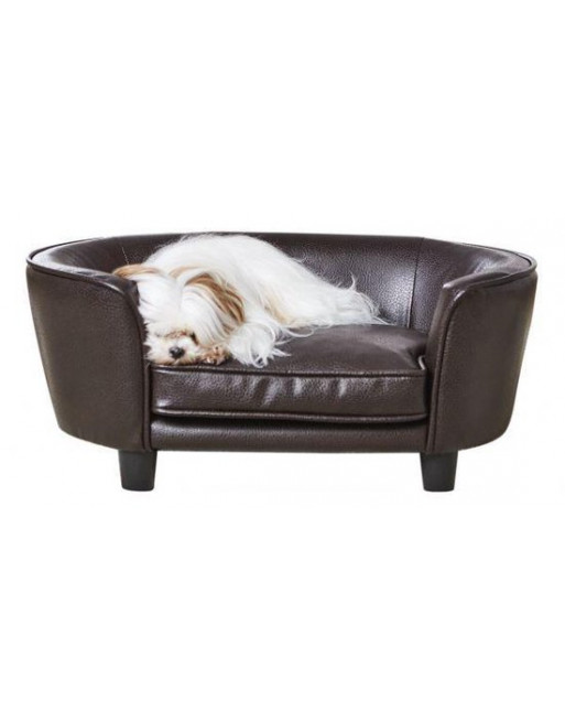 Royale hondenmand/sofa uit leer - coco - 67,5 x 40.5 x 30.5 cm - Donkerbruin