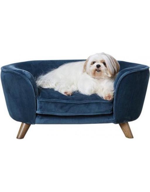 Royale hondenmand/sofa- fluweel - Romy - 67,5 x 40.5 x 30.5 cm - Donkerblauw