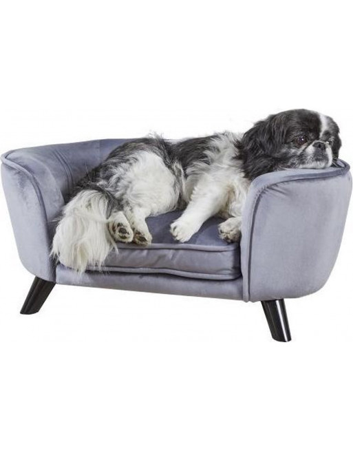 Royale hondenmand/sofa- fluweel - Romy - 67,5 x 40.5 x 30.5 cm - Pewter grijs
