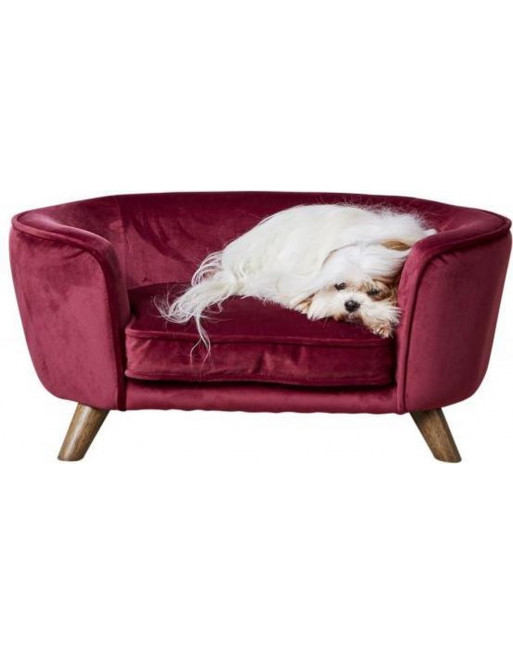 Hondenmand/sofa- fluweel - Romy - 67,5 x 40.5 x 30.5 cm - wijnrood
