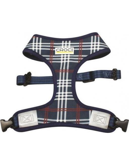 Hondenharnas met dubbelzijdig motief- 42-55 cm - Blauw geruit/visgraat