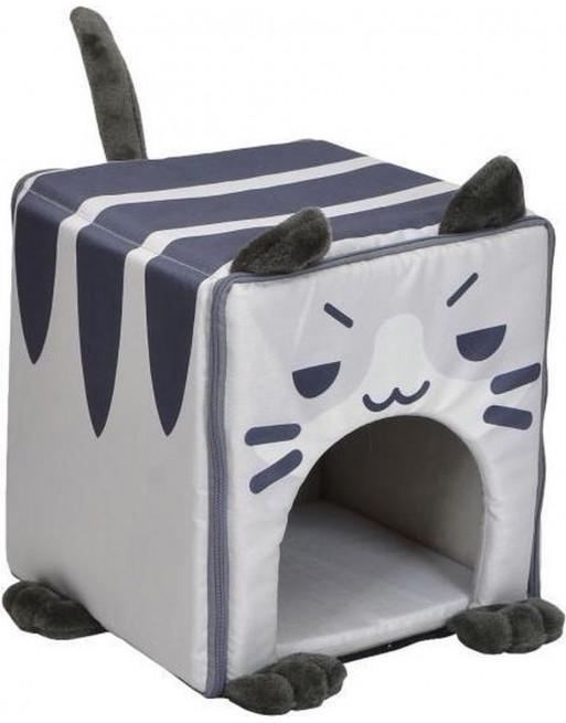 Kattenmand in vorm van kat - 35 x 35 x 35 cm - gestreept blauw/wit