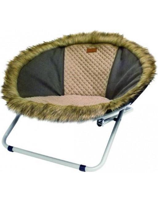Hondenstoel/ligstoel uit bont - 68 x 68 x 42 cm - Meerkleurig