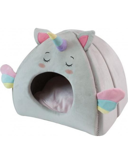 Kattenmand iglo fluffy unicorn - 43 x 33 x 39 cm - pastelkleuren