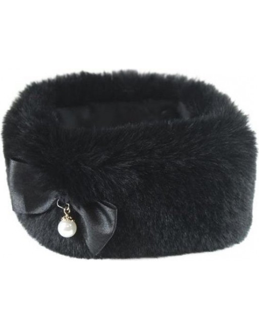 Stijlvolle hondenhalsband uit imitatiebont - 30 cm - Zwart